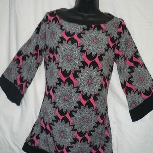 New Pink Black Tunic Blouse SM Gypsy Top